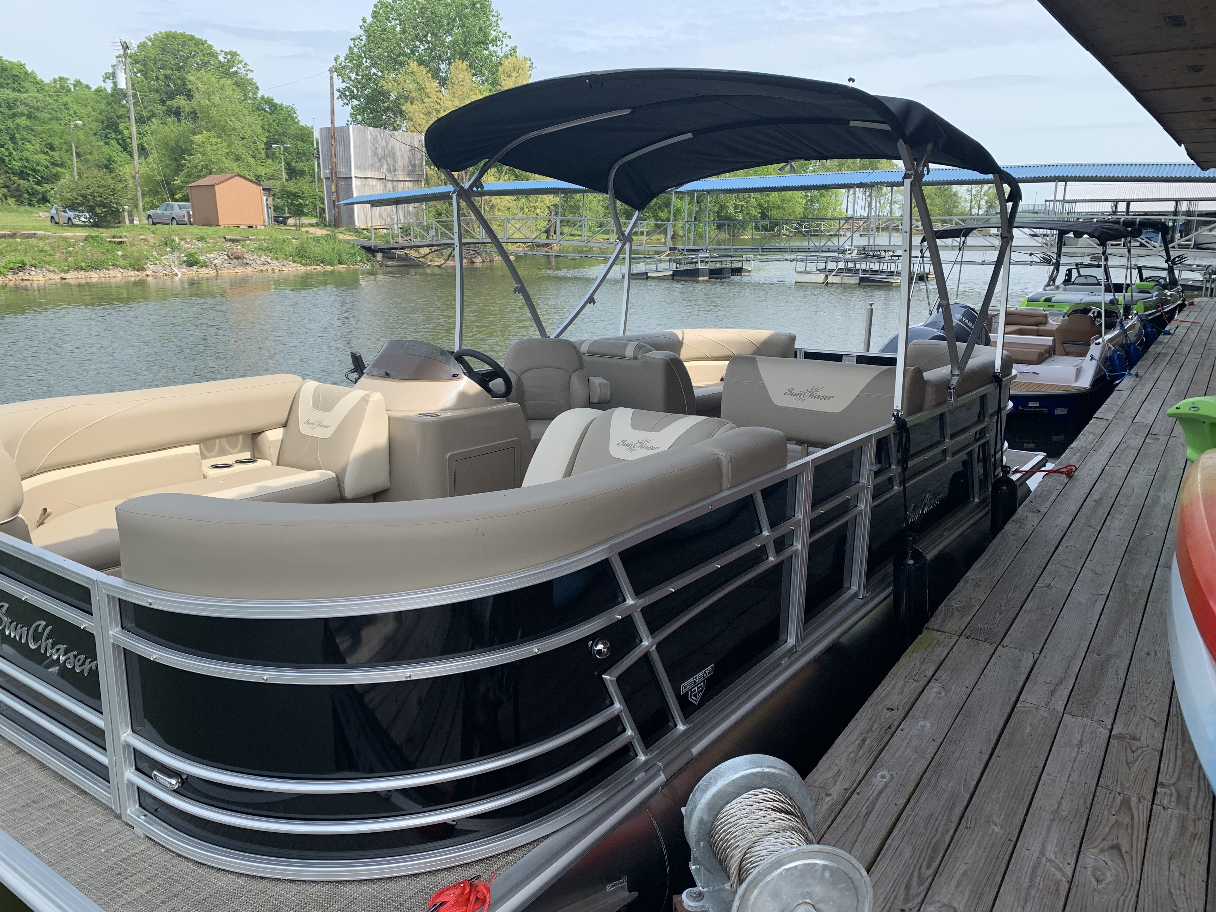 2019 Black Party Time Pontoon Sunchaser