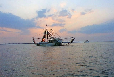 Shrimper at Stono Inlet south of Freedom Boat Club at Bohicket Yacht Club & Marina