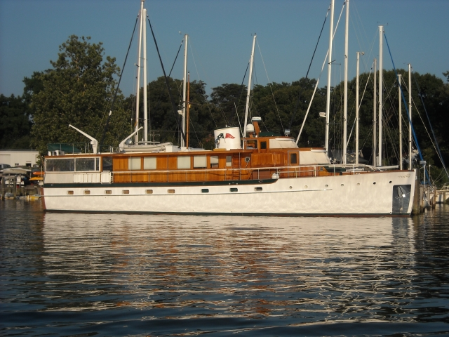 S.S. Sophie, our beautiful neighbor.  She's a 1947 Trumpy motor yacht.  Built in Eastport, she is the little sister of the Former Presidential Yacht, Sequoia.