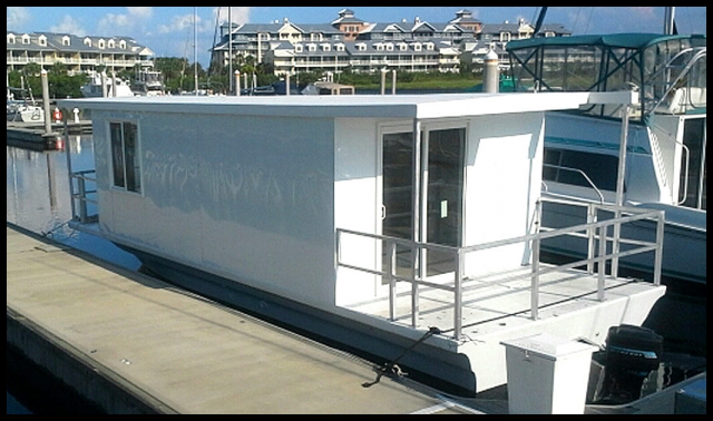 Our Houseboat/Office before the Logo's
