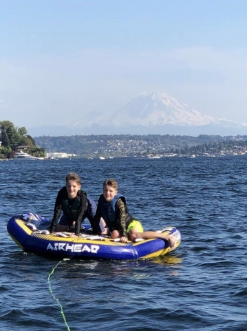 Tubing on the Lake with Mt. Rainier as a backdrop!